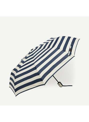 Yargıcı Kalın Yatay Çizgili Şemsiye Lacivert